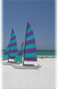 Destin beach and sailboats at Silver Shells